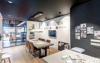 PLAMECO-Decke im Büro ideal für Meetings dank Akustikdecke