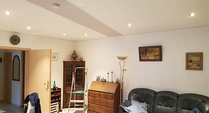 Spanndecke Troisdorf im Wohnzimmer renoviert