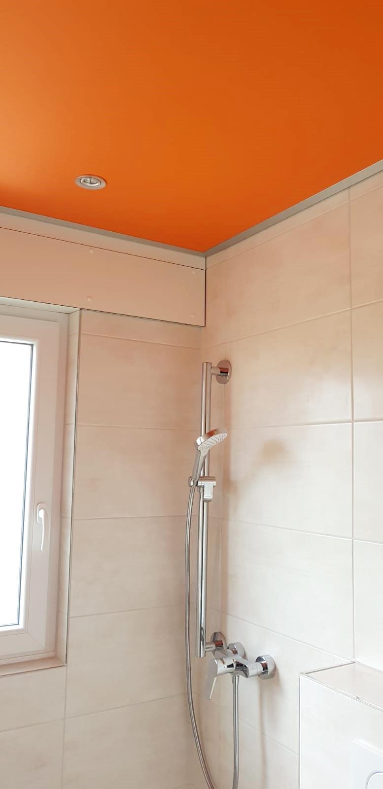 PLAMECO Decke Badezimmerdecke Orange - Spanndecken