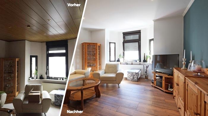 Vorher-Nachher-Vergleich mit neuer Spanndecke direkt unter der Holzdecke montiert.
