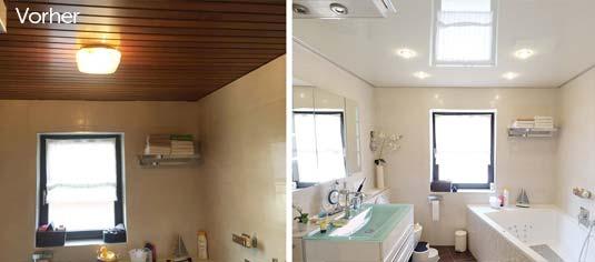 Vorher-Nachher-Vergleich im Badezimmer. Die alte Holzdecke passte nicht zum Bad. Das Ergebnis: ein komplett anderes Raumgefühl bei dem das Bad wie neu wirkt.