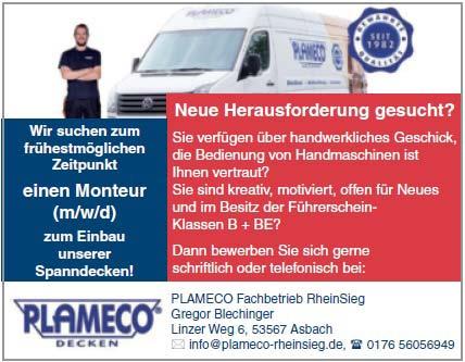 Stellenanzeige Köln - PLAMECO Spanndecken Monteur gesucht