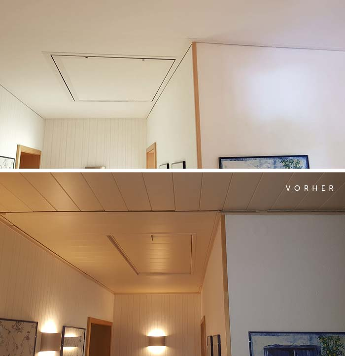 Vorher: die alte Holzdecke, Nachher: Helle Decke samt Dachtreppenverkleidung von PLAMECO