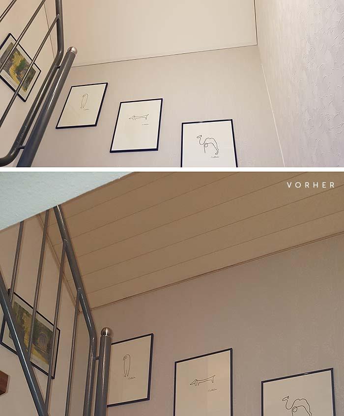 Treppenhaus renoviere - Vorher-Nachher-Vergleich mit PLAMECO-Spanndecke von Gregor Blechinger